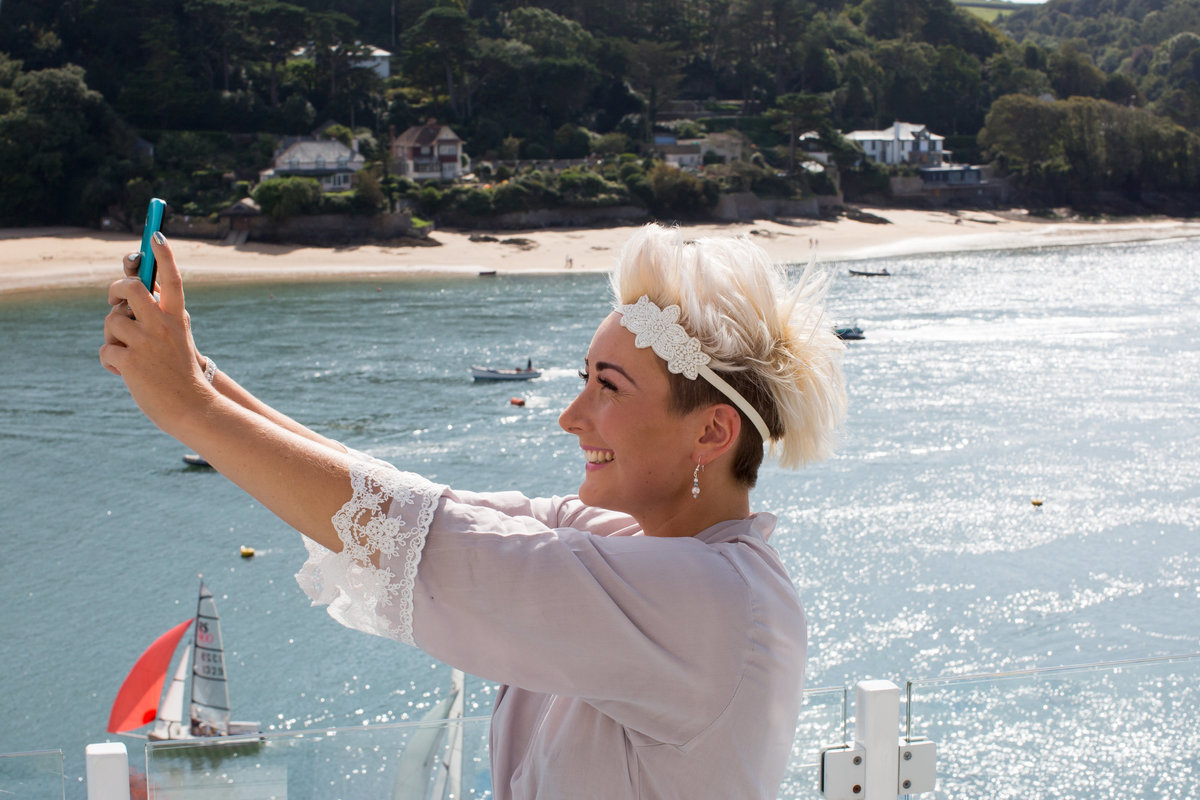 selfie at salcombe harbour hotel devon