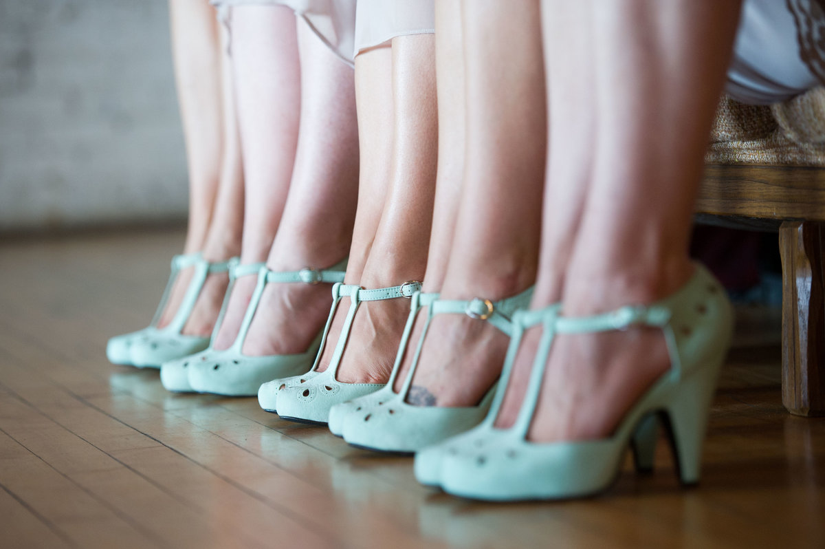 Pastel green bridesmaid shoes, Chicago wedding,  Salvage One.