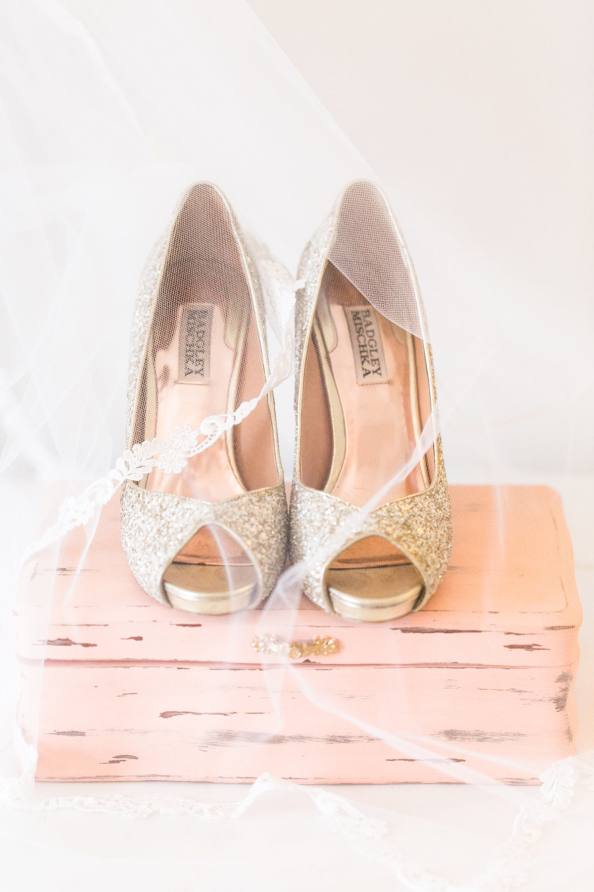 Peach and gold sparkly wedding shoes