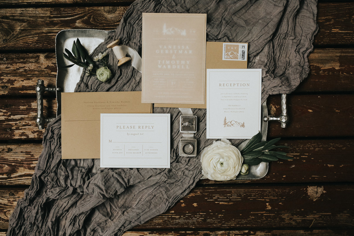 Invitation suire flatlay in Port Angeles, Washington