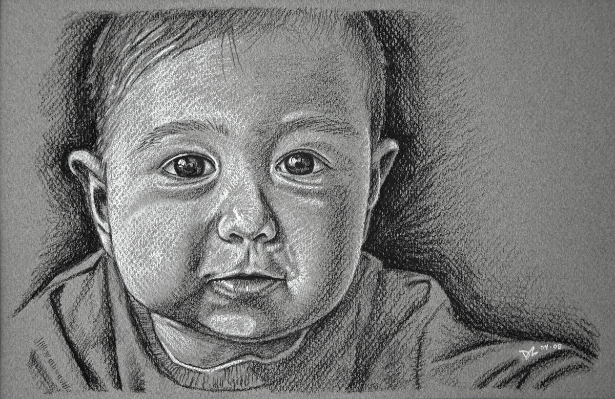 2008-04 Sampson Charcoal - charcoal on grey paper - 10X14-2