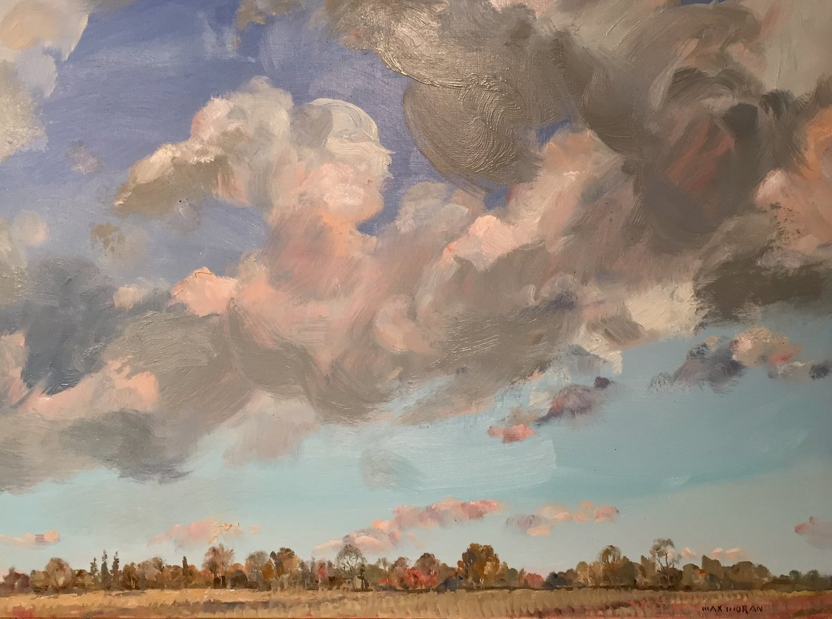Pink Clouds and Autumn Field 18X24 oop 3,000