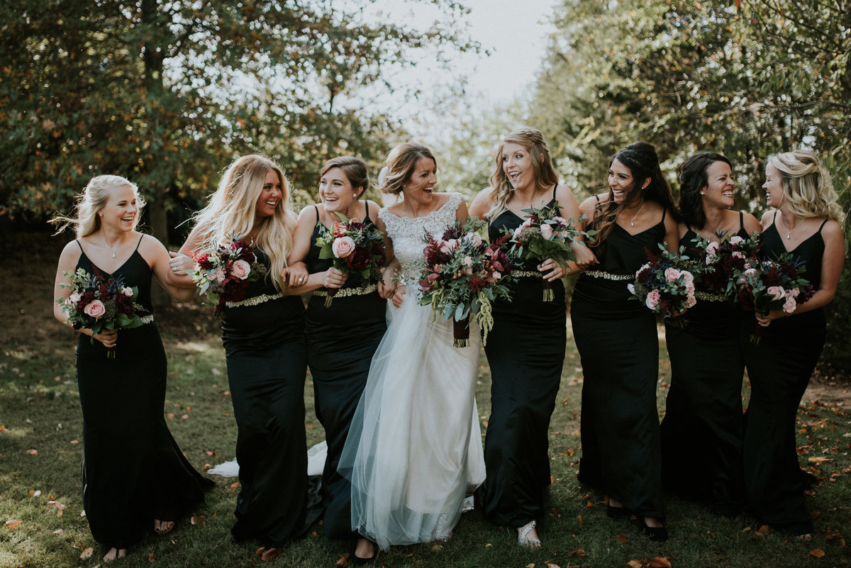 gorgeous bridal party dressed in black
