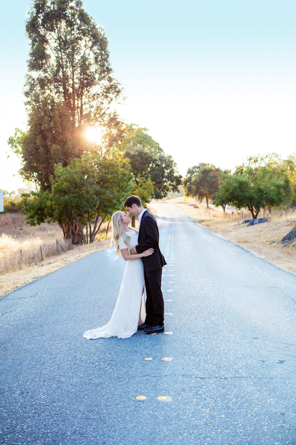 In the Middle of the Street in the Palo Alto Hills for Sunset Engagement Photos