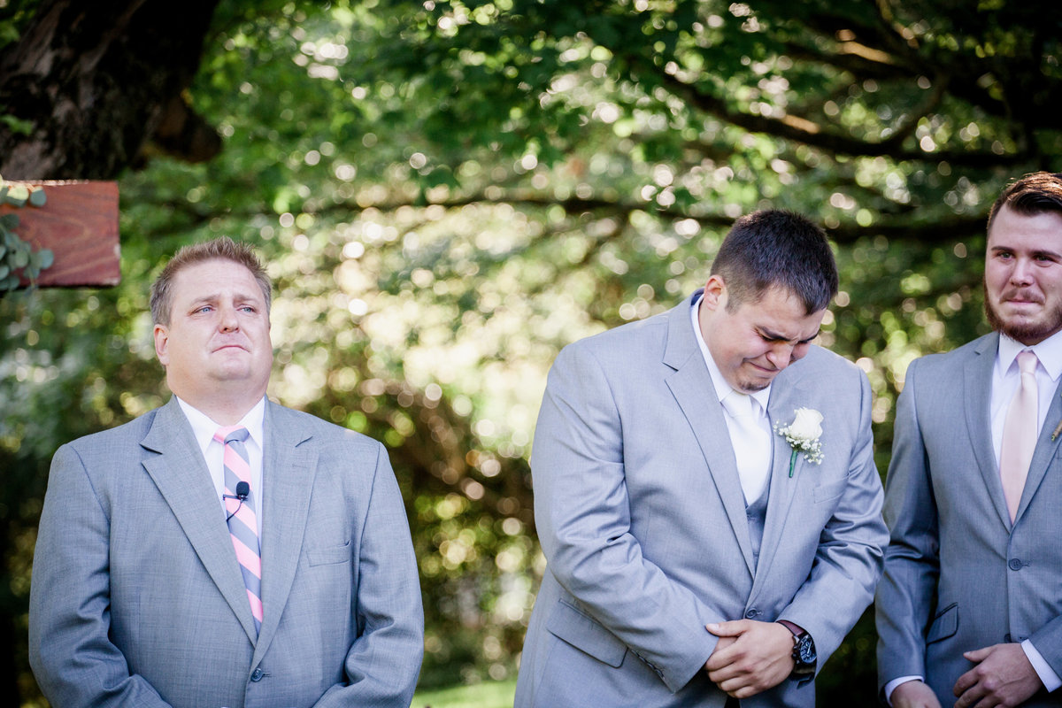 Groom's reaction to seeing his bride for the first time at Black Fox Farms Wedding Venue by Knoxville Wedding Photographer, Amanda May Photos.
