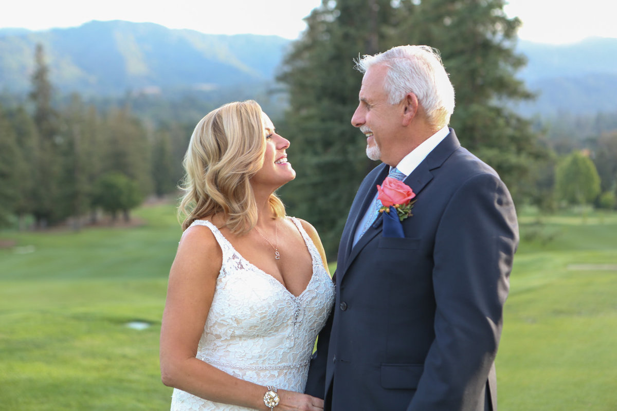 Northern california wedding, deneffe studios, couple on golf course