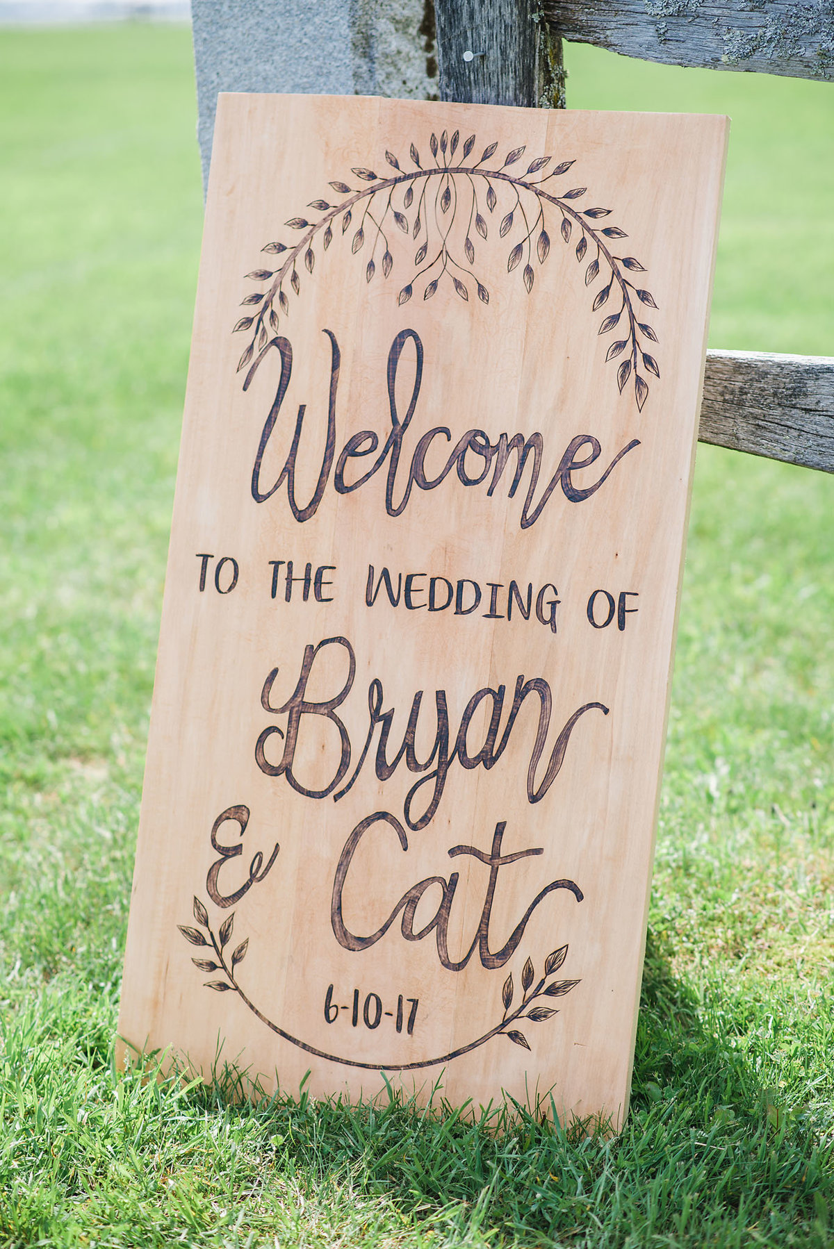 woodburned wedding sign