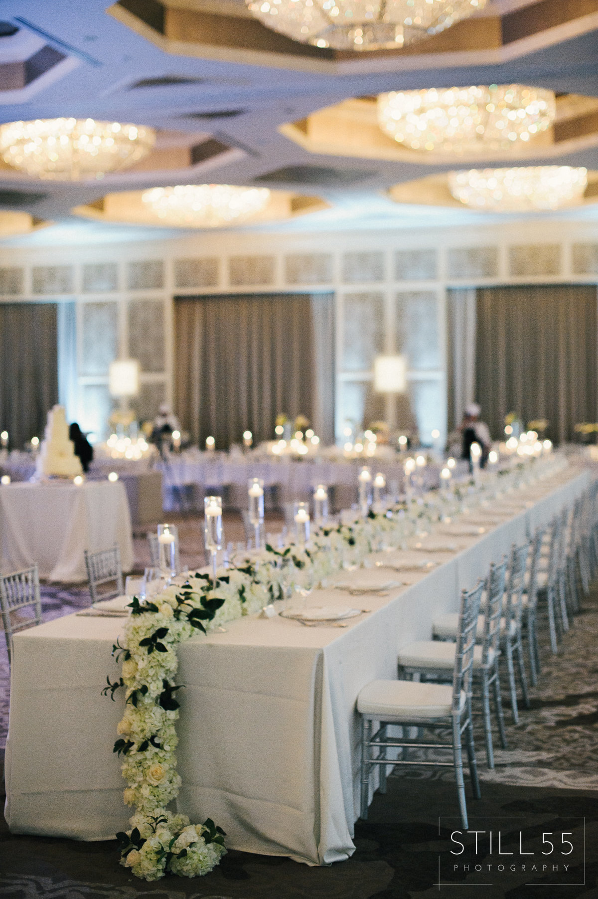 hydrangea runner white and silver grand ballroom four seasons orlando