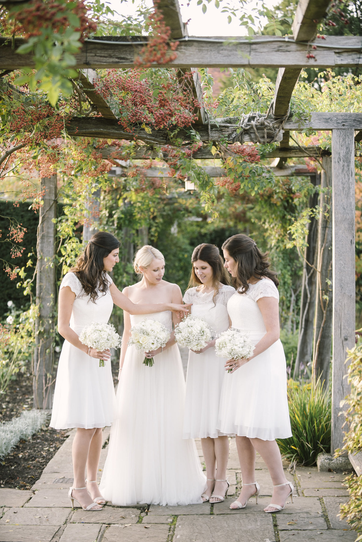 bride and bridesmaids white dresses