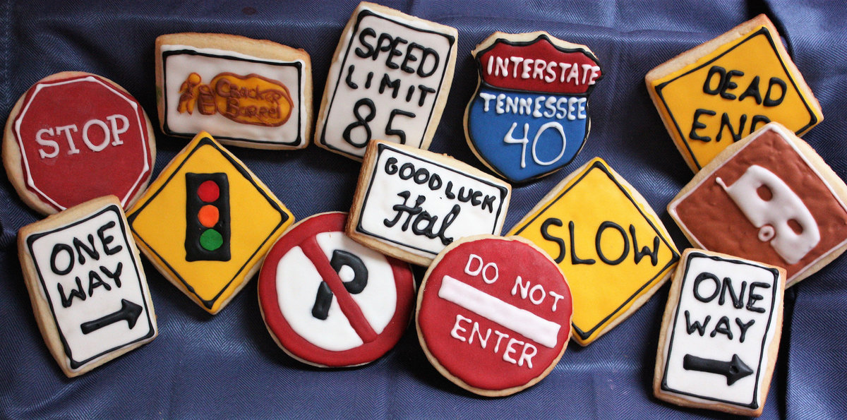 road sign cookies