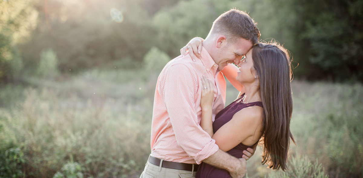 Foreheads together in the sunset at Meads Quarry by Knoxville Wedding Photographer, Amanda May Photos.
