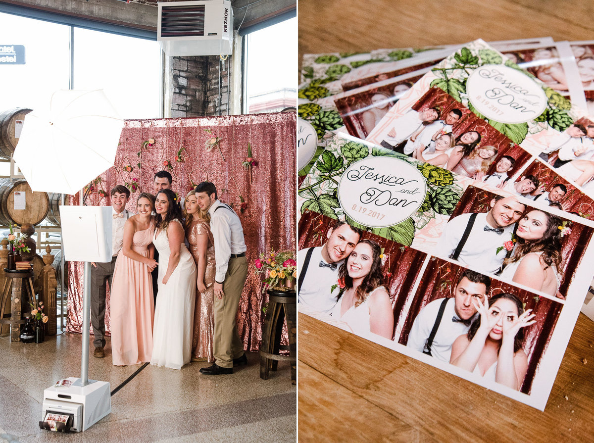 Open air photo booth set up at a wedding with a pink rosé mermaid sequin backdrop from backdropsupply