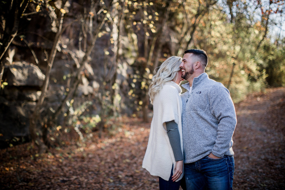 Laughing together at meads quarry engagement photo by Knoxville Wedding Photographer, Amanda May Photos.