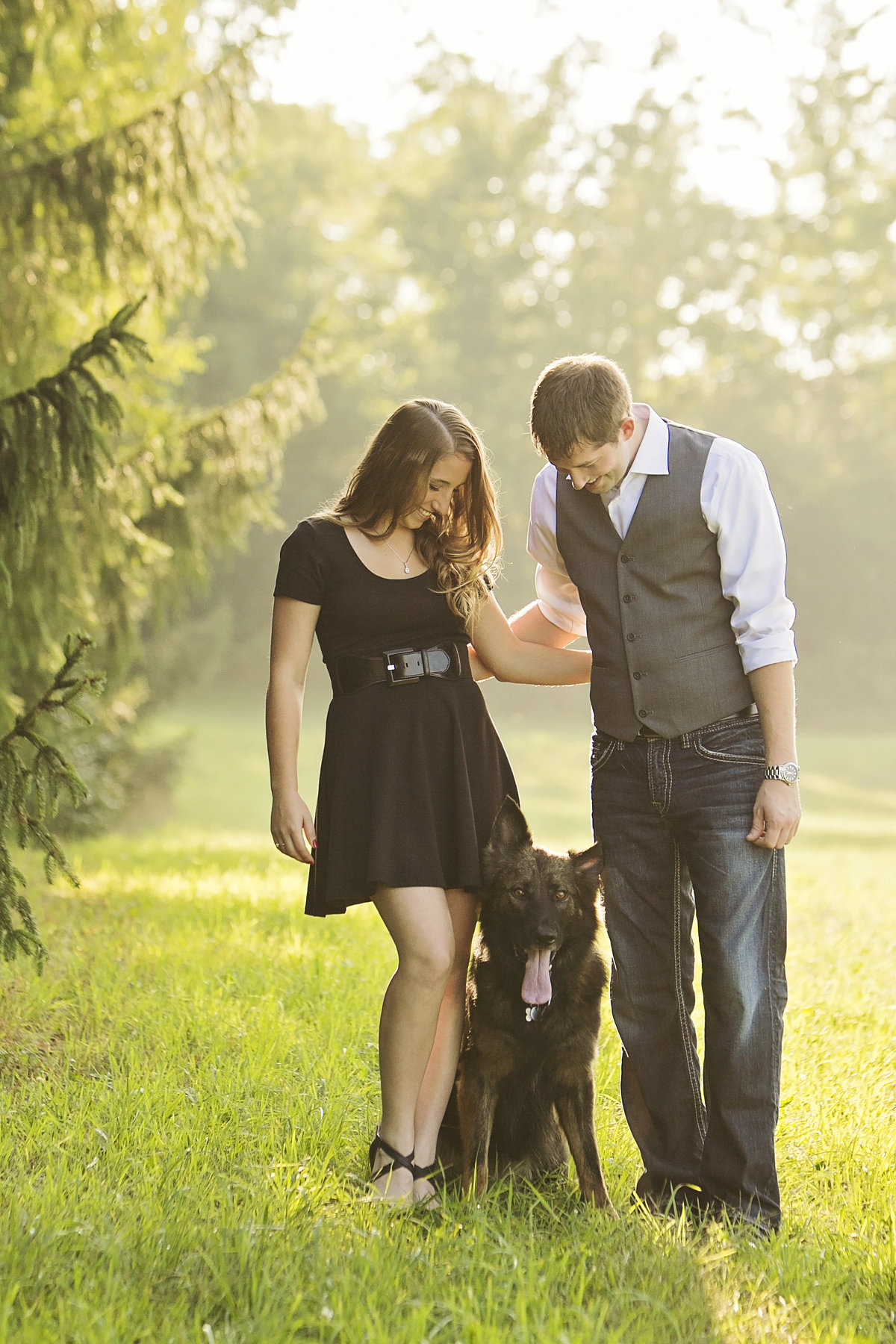 Engagement pictures with pet dog, german shepherd