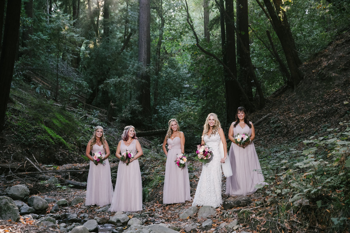 Boho bride with bridesmaids Bay Area, CA