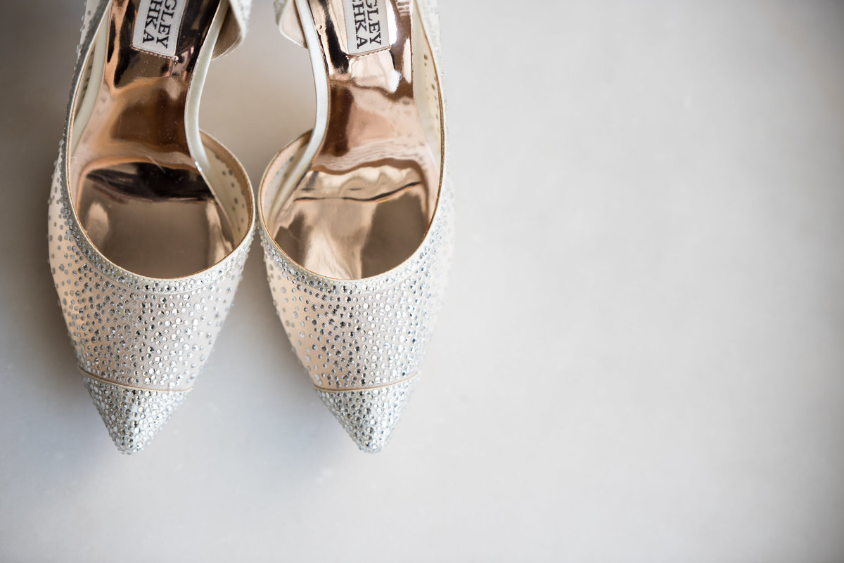 Badgley Mischka Studded Bridal Heels