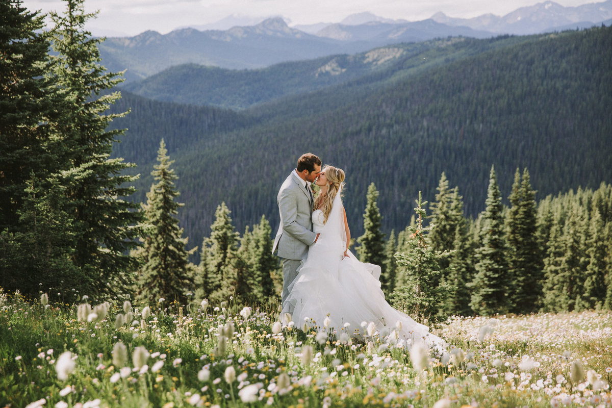 Manning Park BC Wedding Bride Groom Flowy Dress Grey Suit
