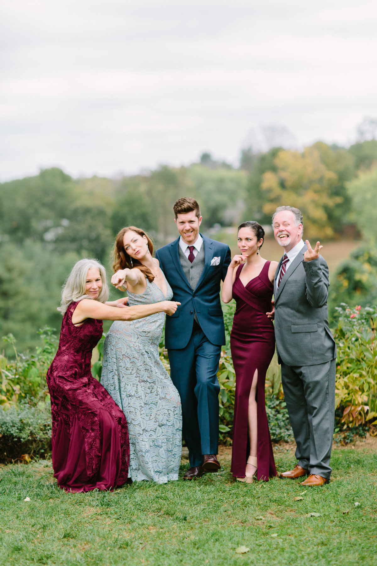 fun and corky family photos at chappaqua wedding