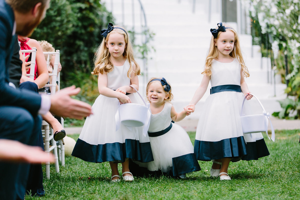 cute flowergirls in white and blue princess dresses