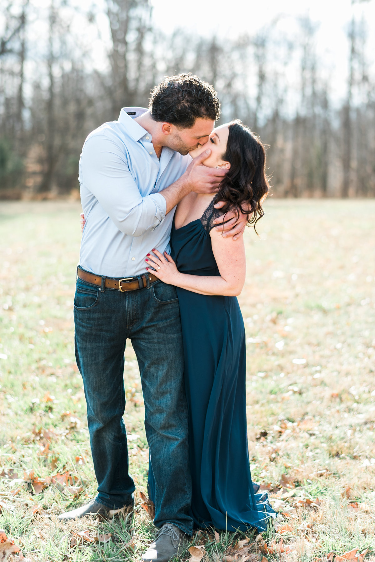 nc kissing engagement photo