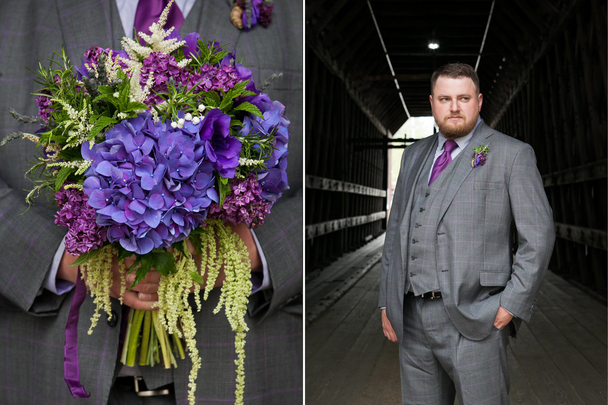 Photo of groom in purple tux under covered bridge holding beautiful lush purple bridal bouquet in OR | Susie Moreno Photography