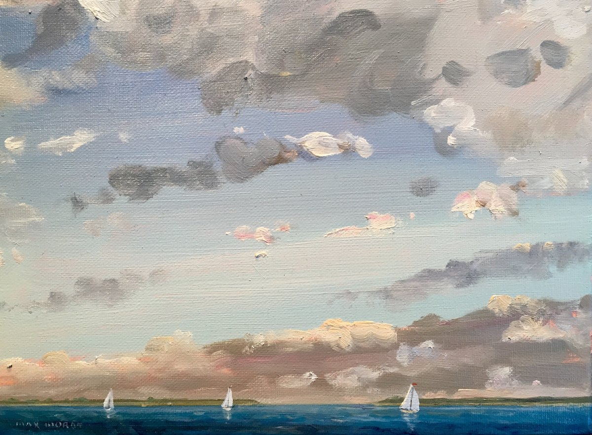 Three Sailboats on Peconic Bay 9 X 12 ooc 1500