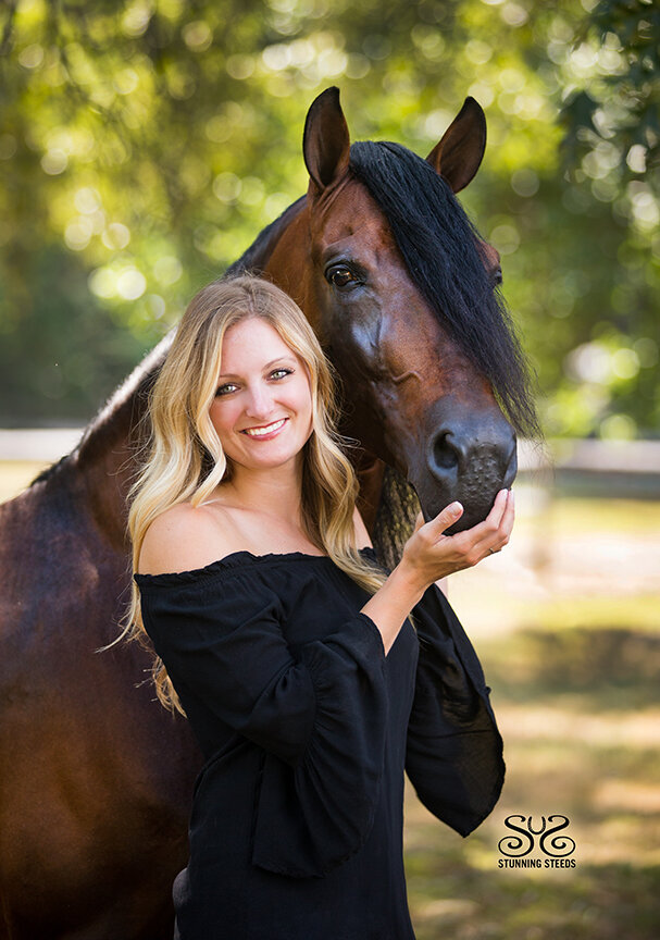 blonde woman with horse portrait