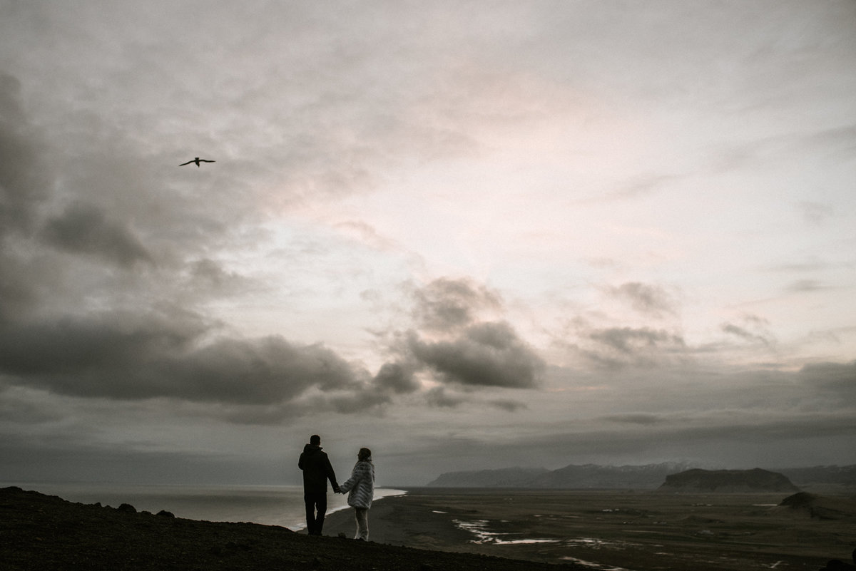 iceland destination wedding elopement sunset black sand beach