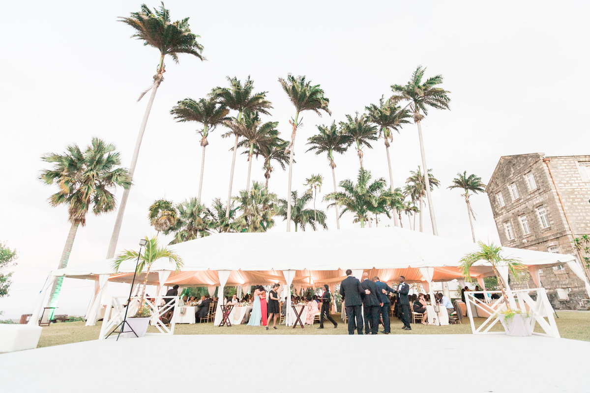 Beautiful tented wedding ceremony in Barbados