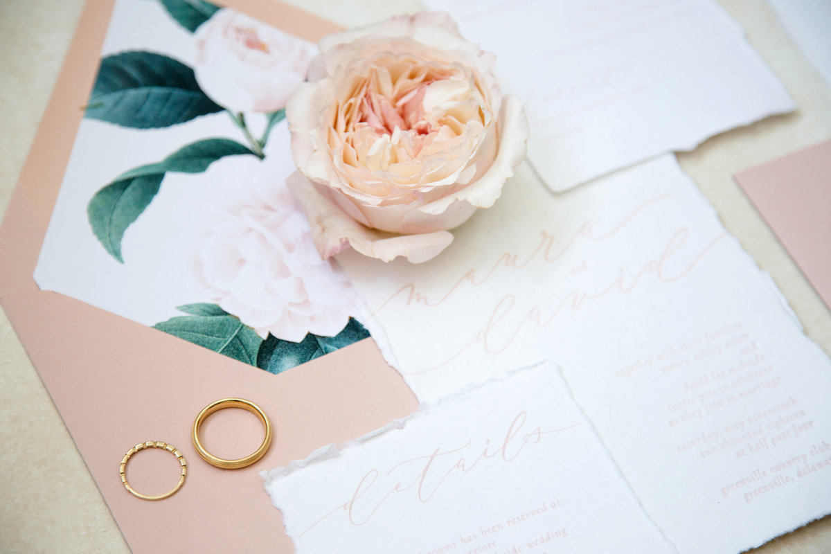 Pink envelope with rose liner and custom hand lettering
