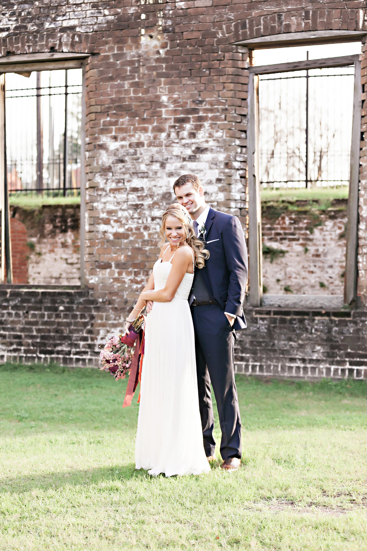 Savannah Georgia Railroad Museum Wedding Bride Groom Portrait SoHo South Bohemian