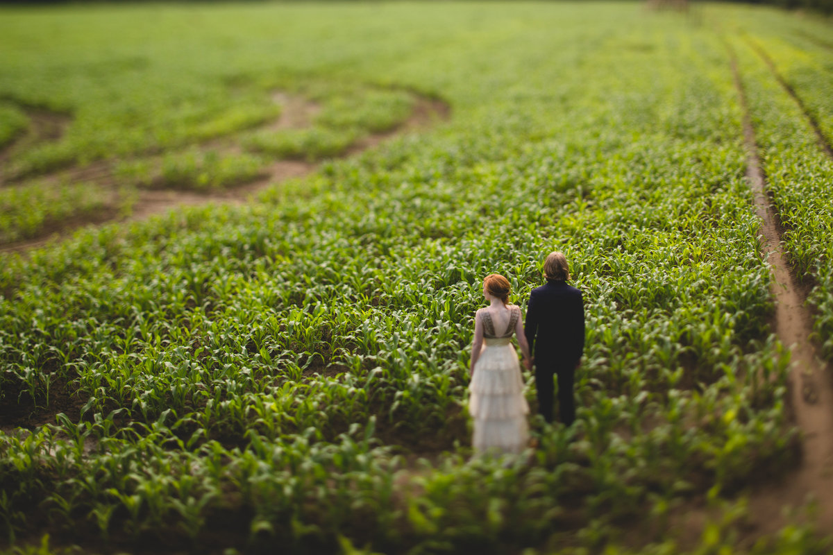 bride and groom stood in a corn field taken from above. a quirky and creative wedding photo from york maze