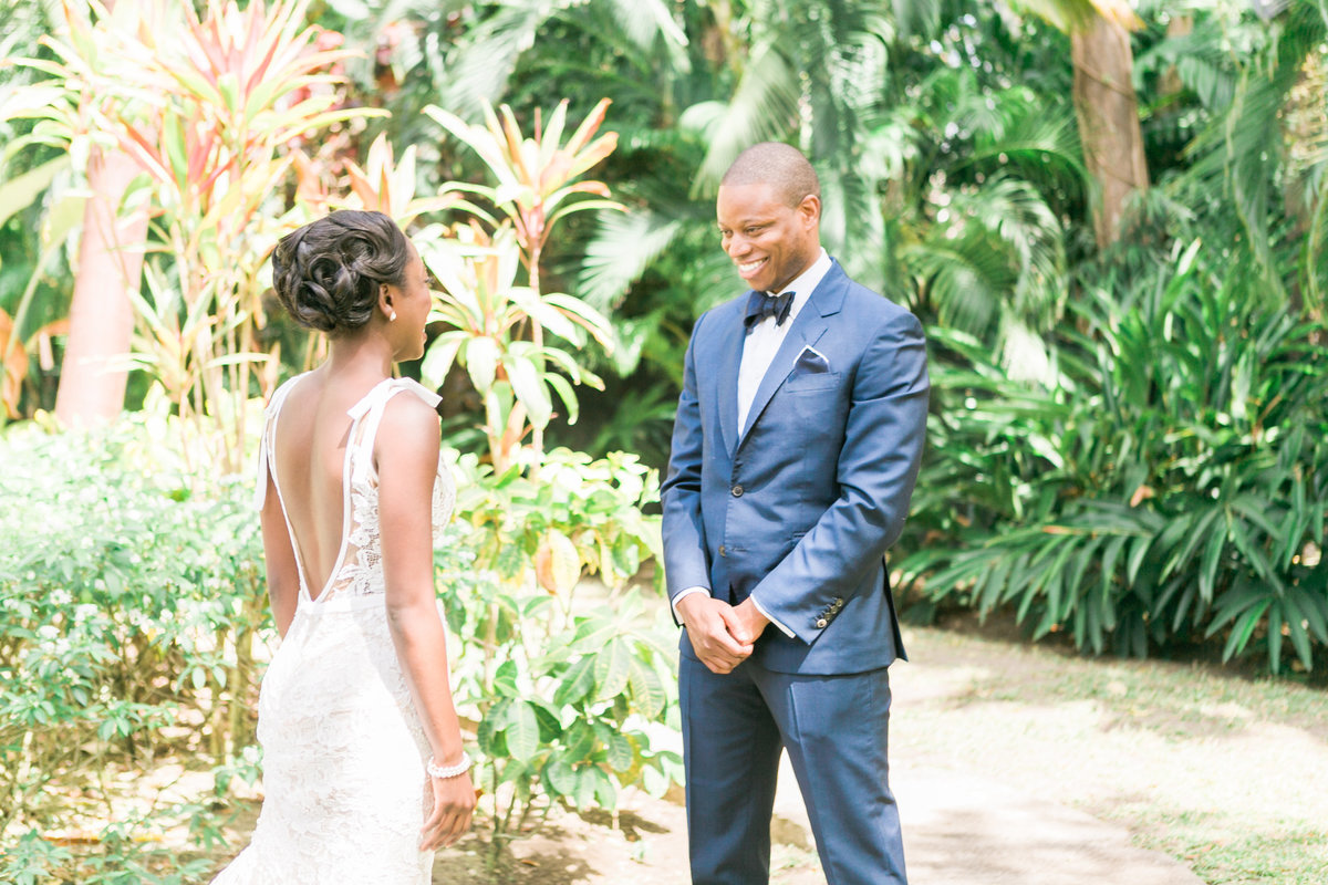 Groom sees bride for the first time in her wedding gown at Bluff House, Sandy Lane - Barbados destination wedding