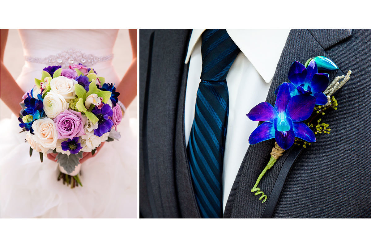 purple wedding bouquet and boutonniere
