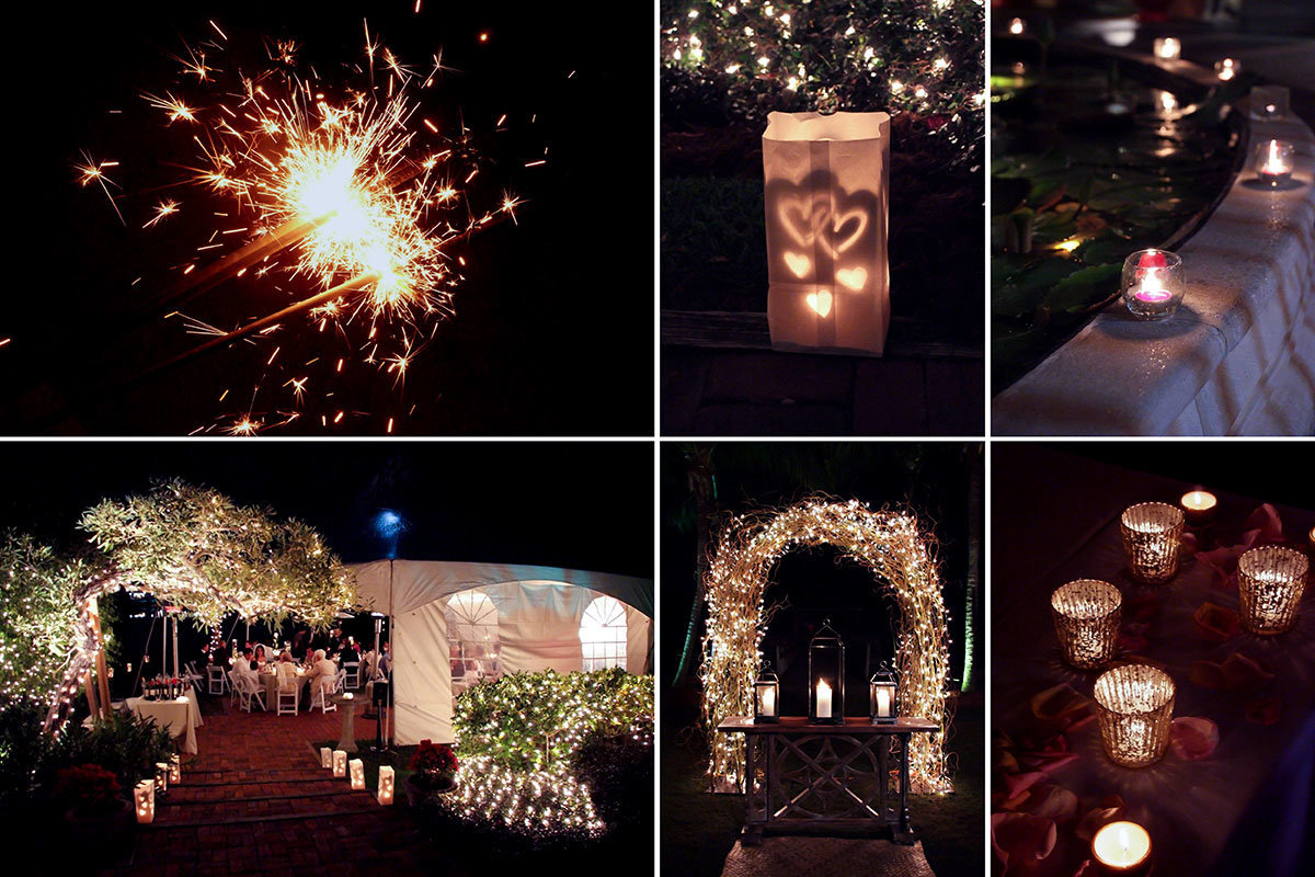 wedding twinkle lights and luminaries