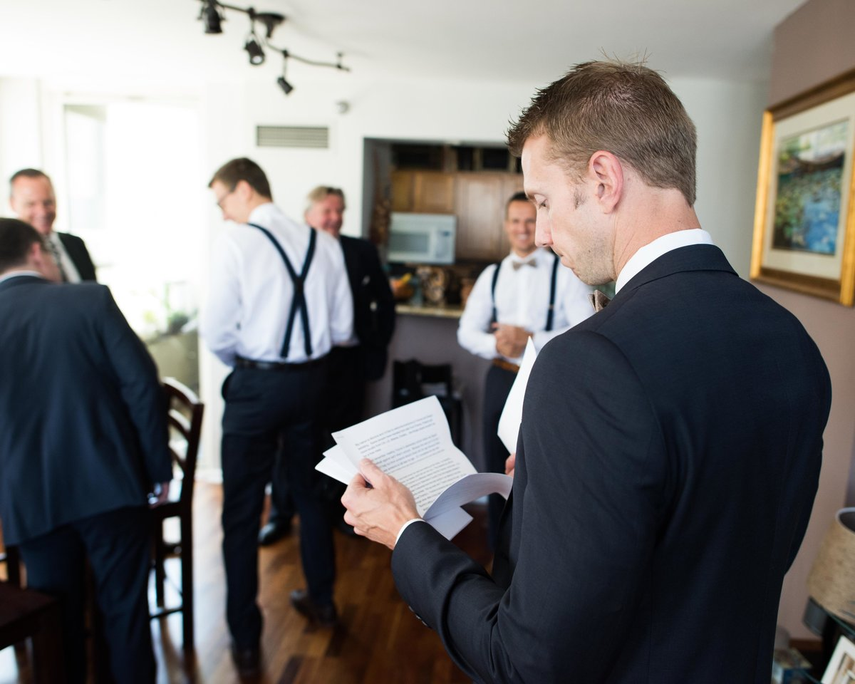 Best man reviews speech for wedding reception, Chicago IL.