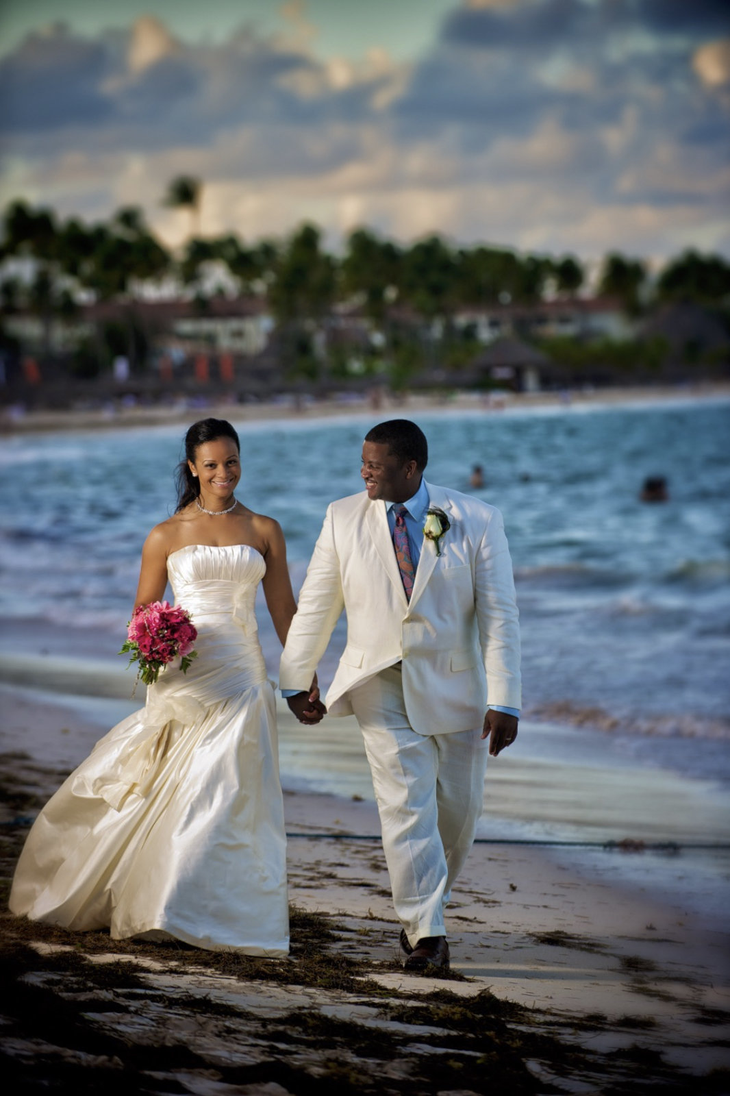 A wedding couple at their destination wedding in the Dominican Republic on the beach