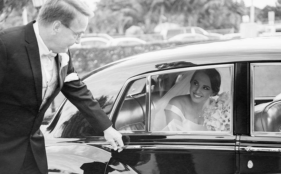 Bride and Father of Bride Limo