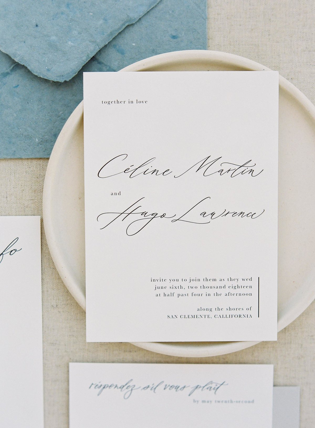 Plume & Fete semi-custom collection Longbourn coastal inspired modern invitation card