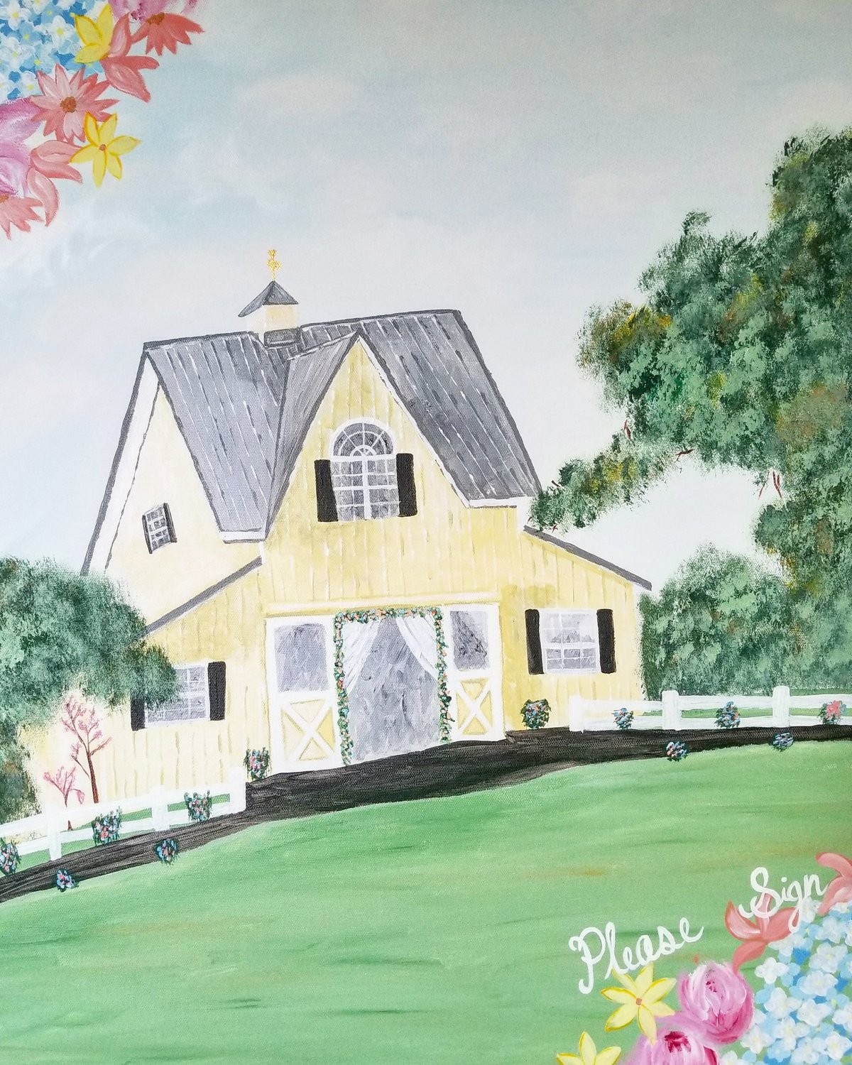 Custom wedding venue alternative guestbook painting featuring Flora Corner Farm in Maryland