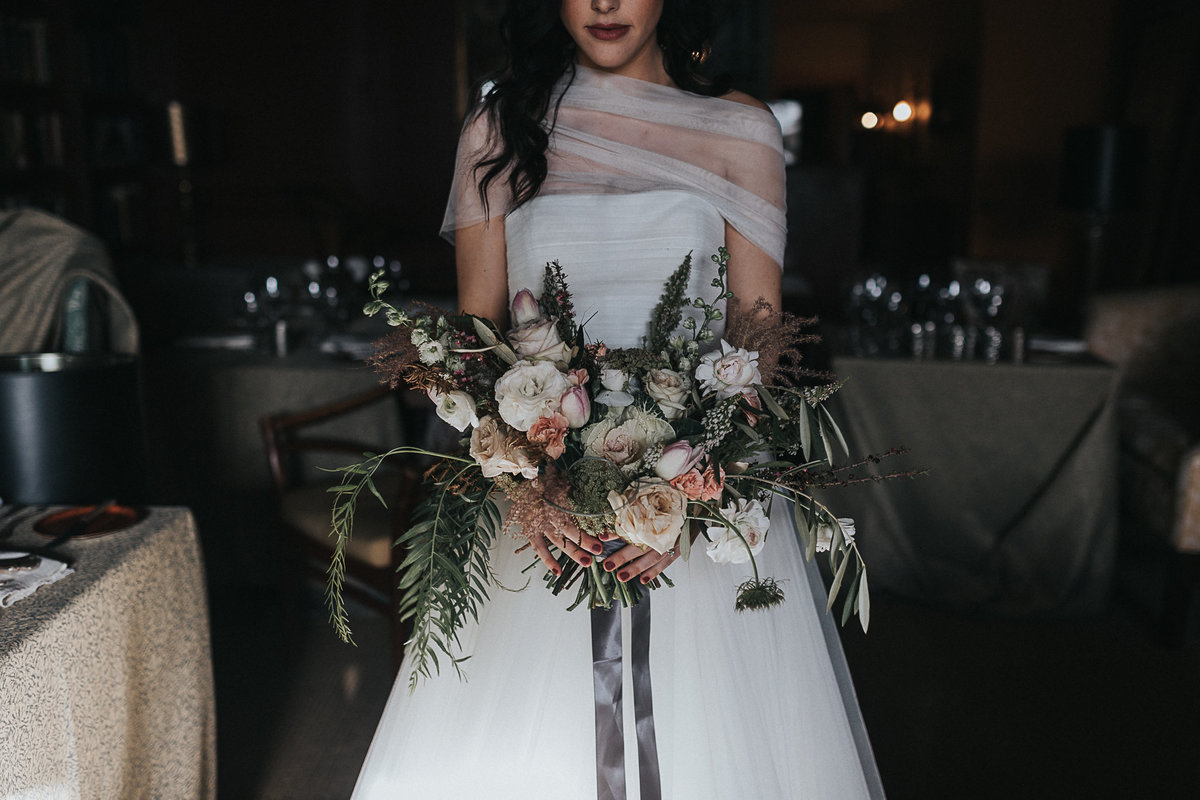 Indoor bridal portrait at the Ruins in Seattle, Washington