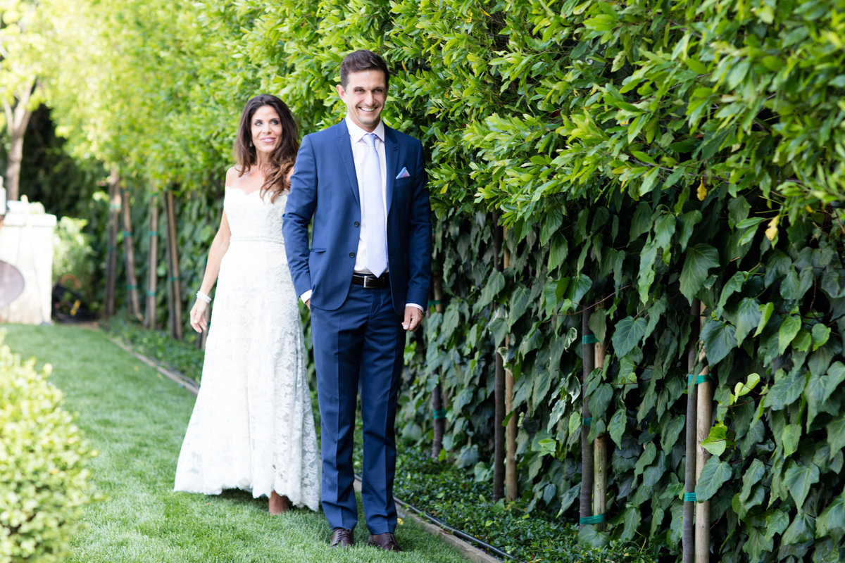 First-Look with the Bride and Groom at a Private Residence Atherton House Wedding