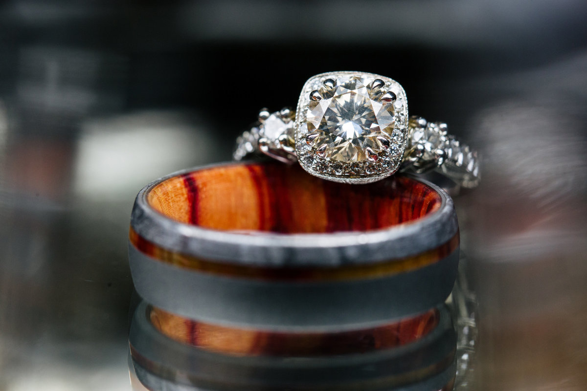 white gold and wood wedding ring