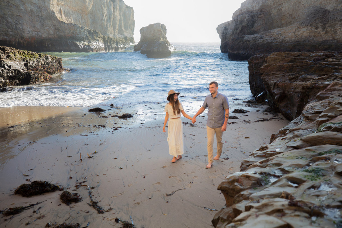 Davenport, California photoshoot of couple on beach, boho style portraits