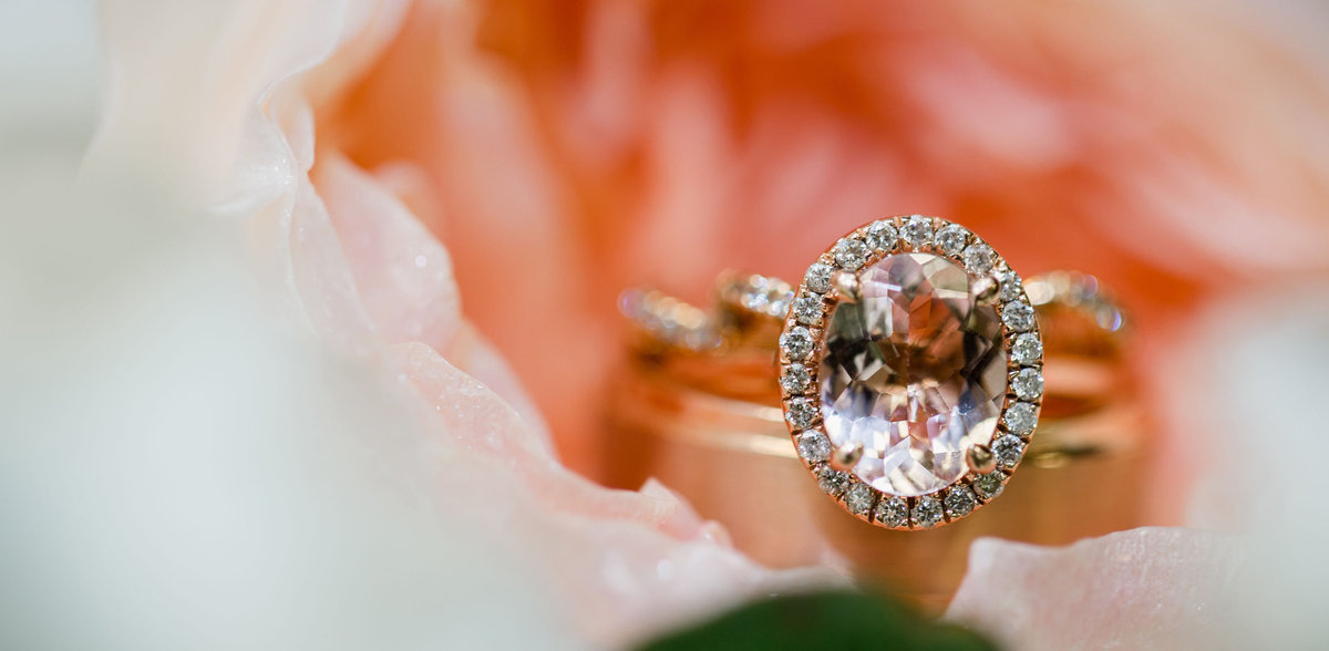 Beautiful wedding ring detail picture sitting in a blush flower on the bridal bouquet in Chattanooga, TN by Knoxville Wedding Photographer, Amanda May Photos