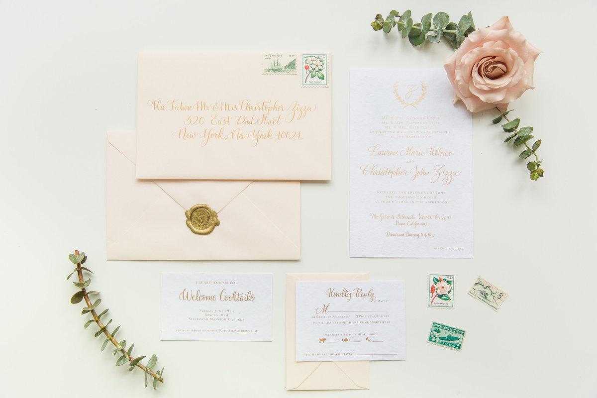 Wedding invitation suite with gold ink and gold wax seal