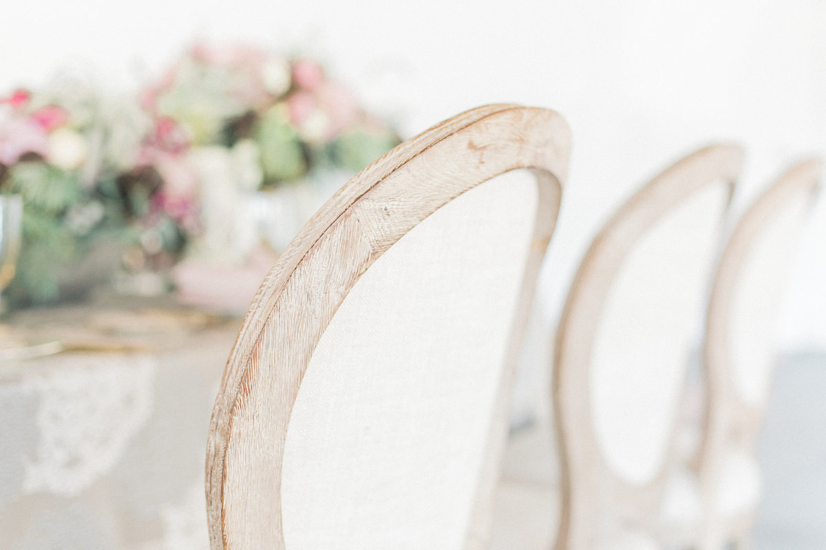 French Round Fabric Rustic Chairs