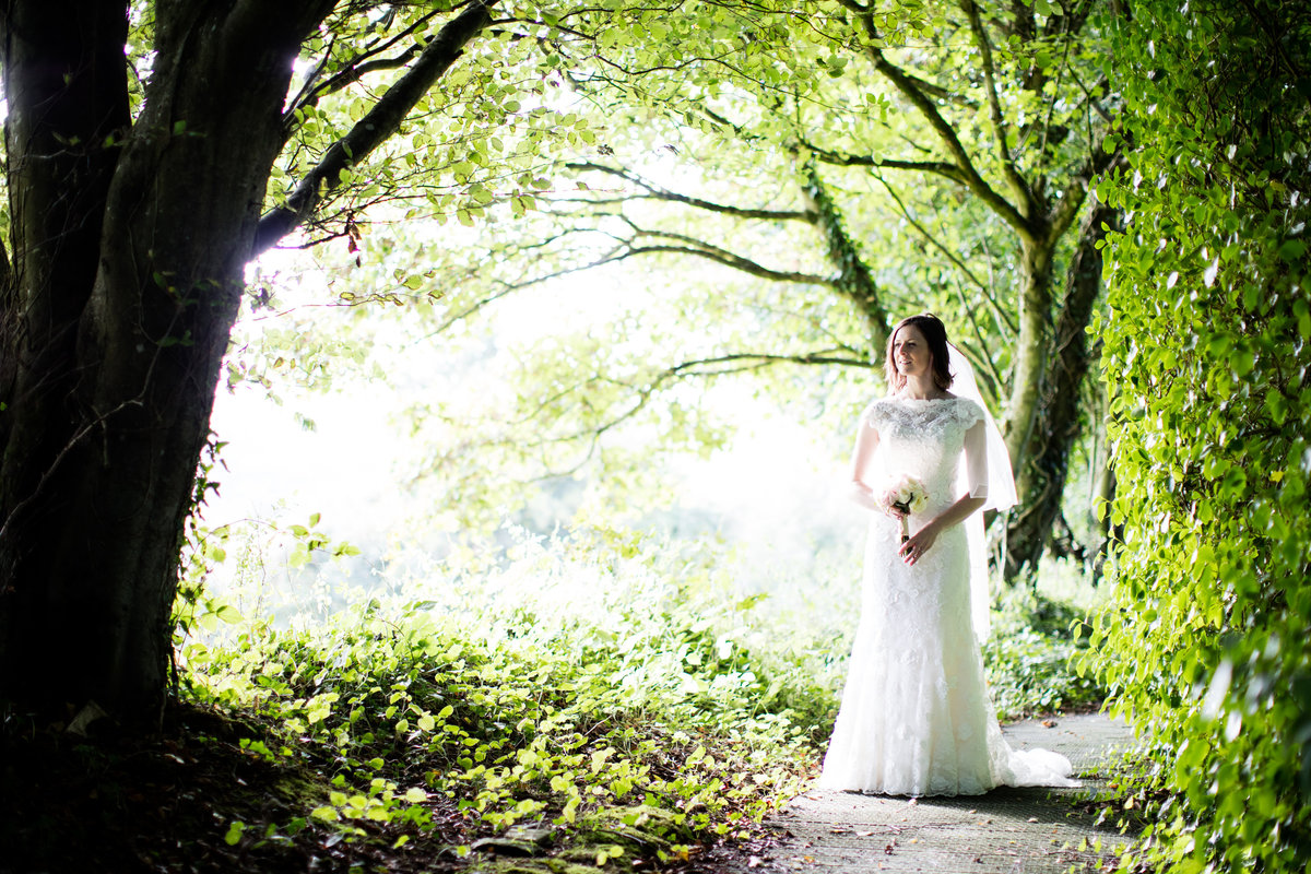 bride at countryways devon wedding venue
