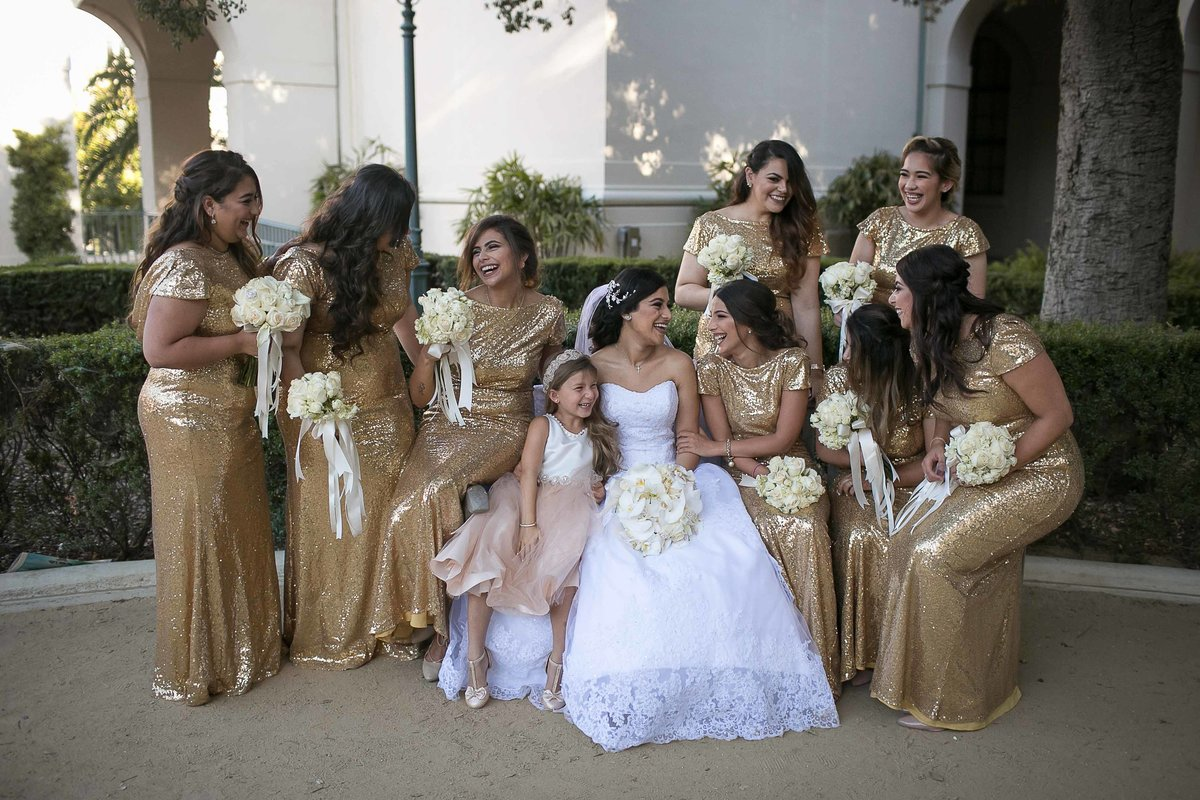 Bride and Bride's Maids in pasadena City Hall_