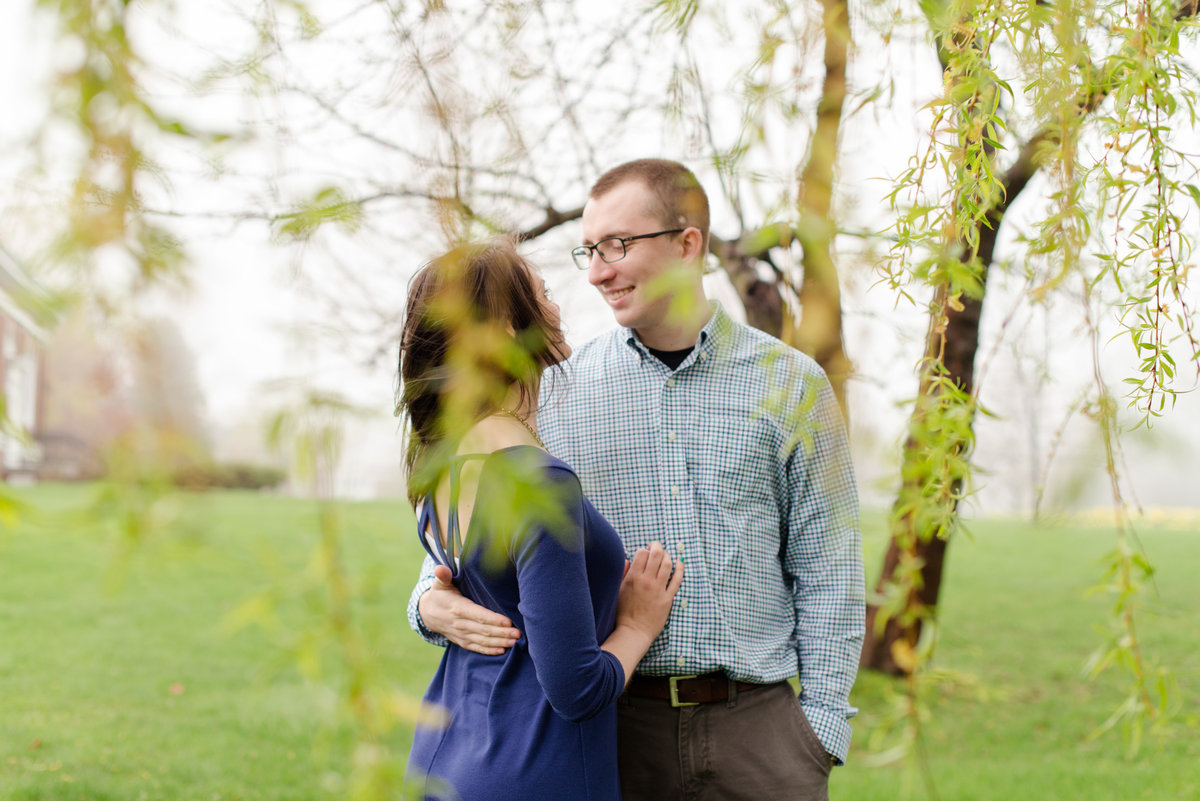 pineland farms engagement photo with a weeping willow